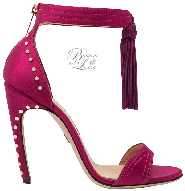 Brilliant Luxury Zuhair Murad studded tassel sandal in pink