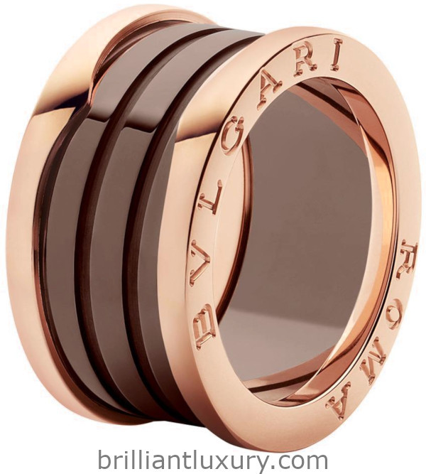 Bvlgari B.zero1 Roma four-band ring with two 18kt rose gold loops and bronze ceramic spiral