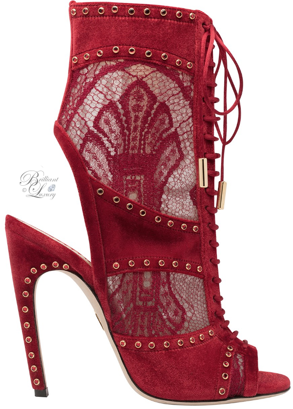 Zuhair Murad lace peeptoe booties in red