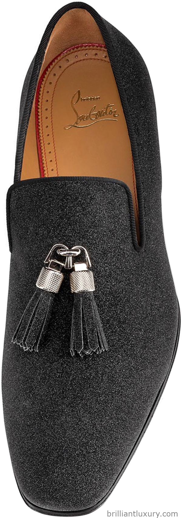 Christian Louboutin Rivalion mocassin in black calfskin leather with glitter and grosgrais