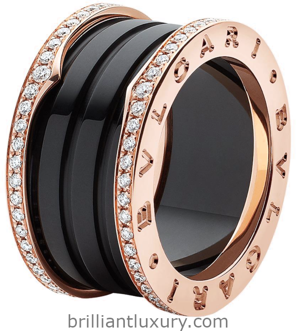 Bvlgari B.zero1 four-band ring with two 18kt rose gold loops set with pavé diamonds on the edges and a black ceramic spiral