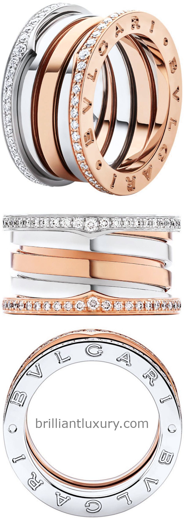 Bvlgari B.Zero1 four band ring in 18kt rose and white gold set with pavé diamonds on the edges