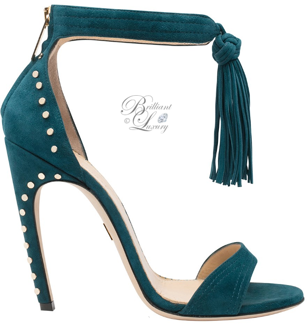 Brilliant Luxury│Zuhair Murad studded tassel sandal in celadon blue