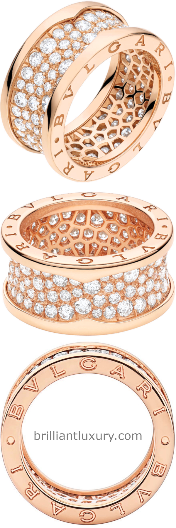 Bvlgari B.Zero1 four-band ring in 18kt rose gold set with pavé diamonds on the spiral