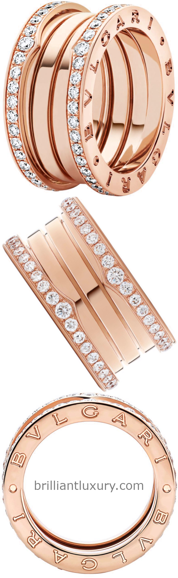 Bvlgari B.Zero1 four-band ring in 18kt rose gold set with pavé diamonds on the edges
