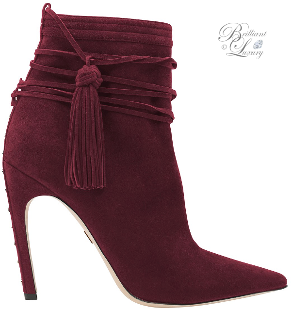 Zuhair Murad tassel booties in burgundy