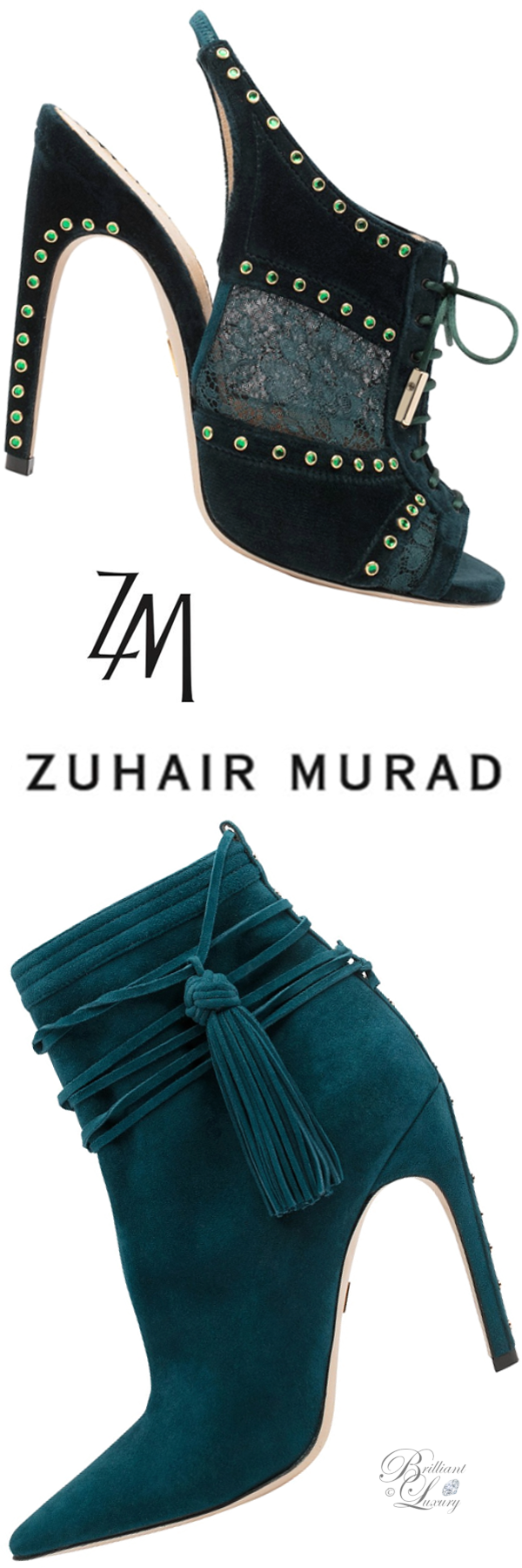 Zuhair Murad slingback peeptoe mules and tassel booties in celadon blue