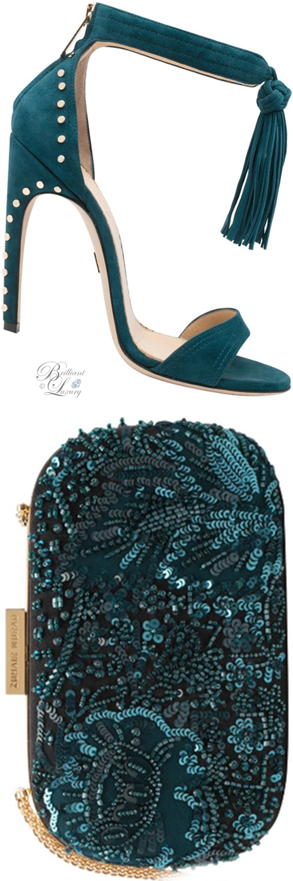 Zuhair Murad studded sandal and embroidered clutch in celadon blue