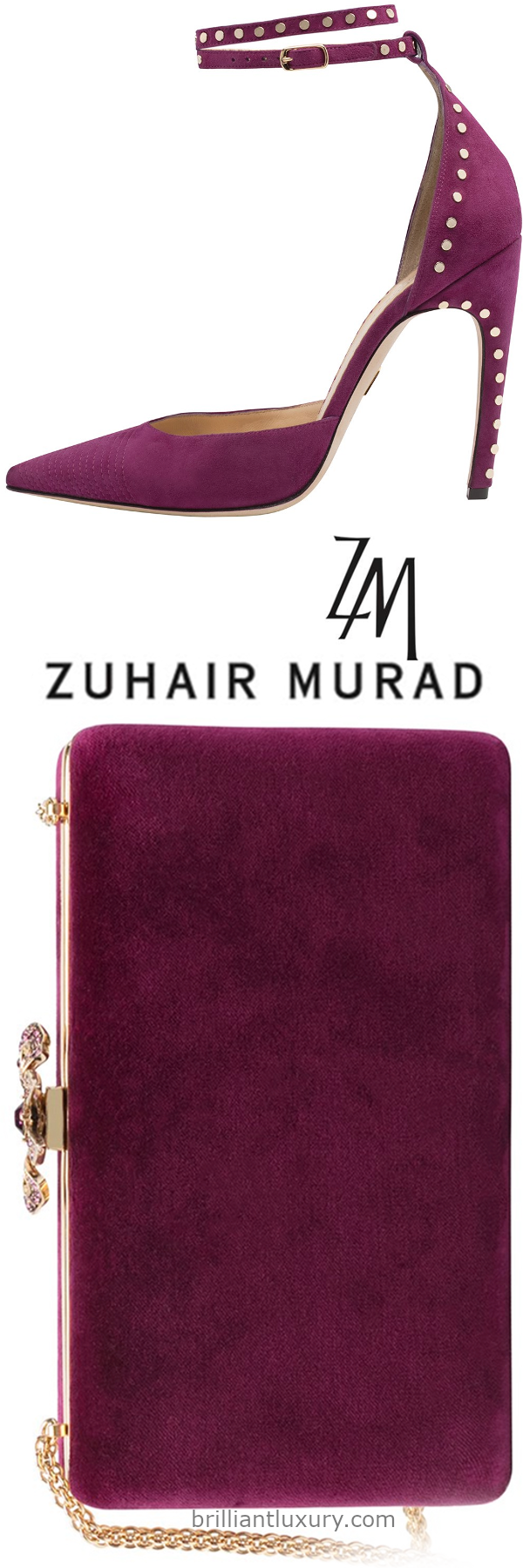 Zuhair Murad ankle strap sandal and velvet clutch in pink