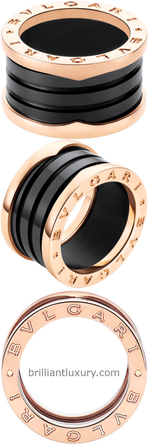 Bvlgari B.Zero1 four-band ring with two 18kt rose gold loops and a black ceramic spiral