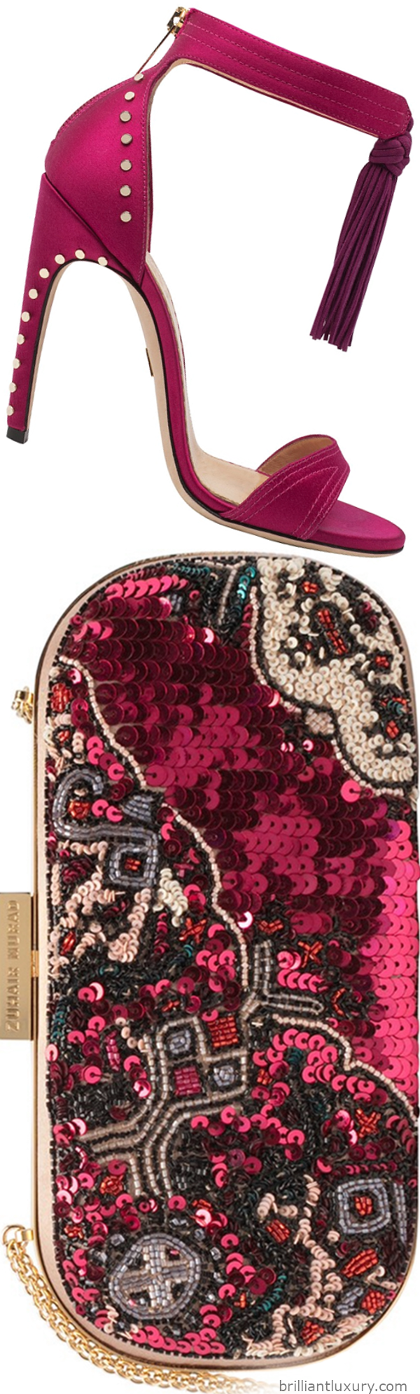 Zuhair Murad tassel sandal and clutch in pink