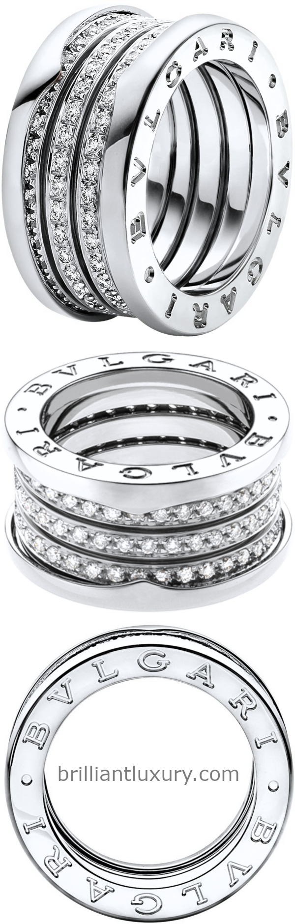 Bvlgari B.Zero1 four-band ring in 18kt white gold set with pavé diamonds on the spiral