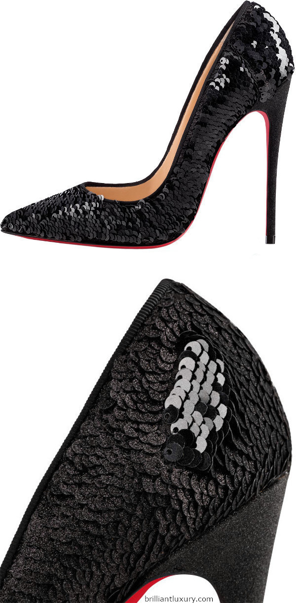 Brilliant Luxury│Christian Louboutin So Kate black sequin stiletto pumps