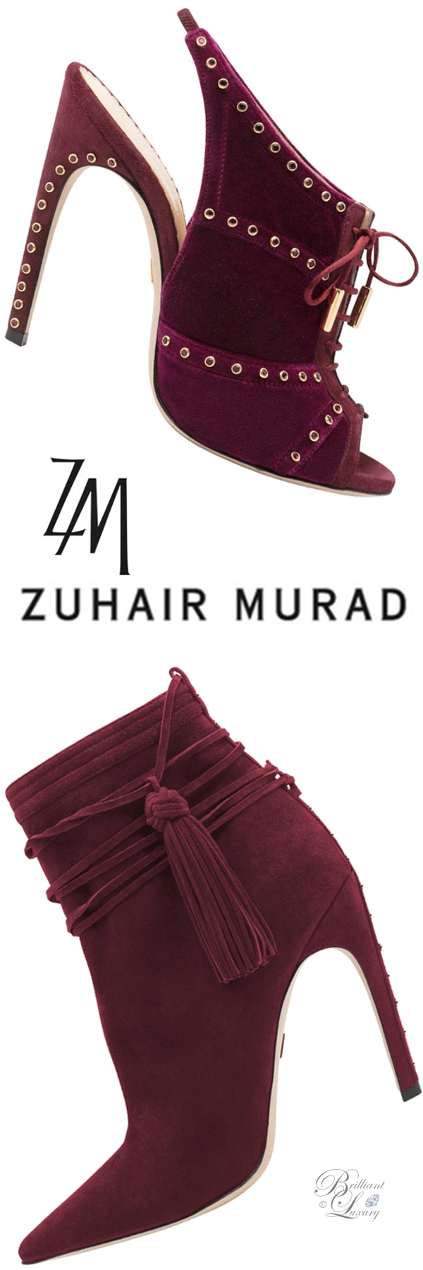 Zuhair Murad slingback peeptoe mules and tassel booties in burgundy