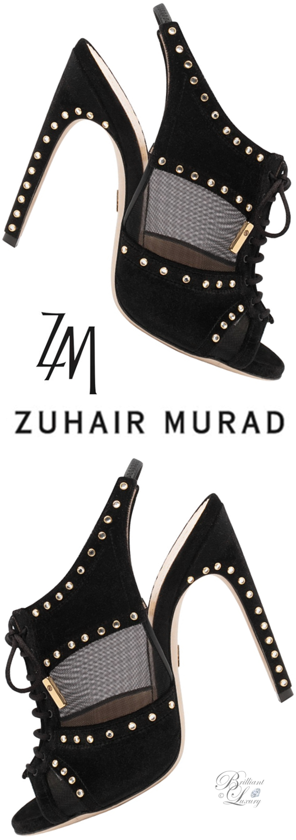 Brilliant Luxury│Zuhair Murad slingback peeptoe mules in black