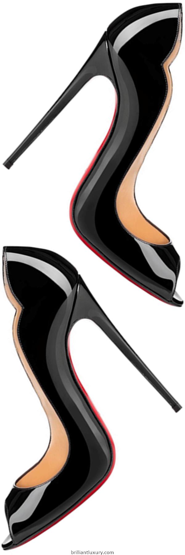Brilliant Luxury│Christian Louboutin Hot Wave black patent leather peeptoe pumps