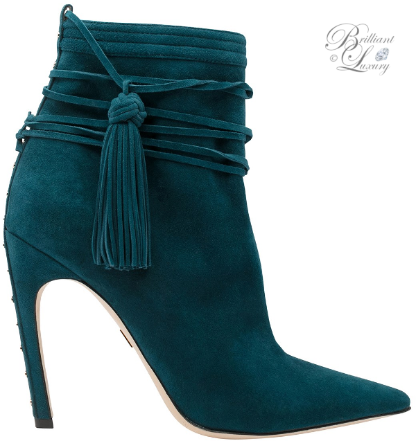 Zuhair Murad tassel booties in celadon blue