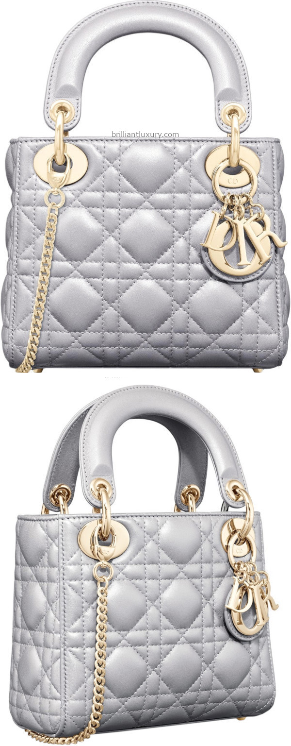 Brilliant Luxury│Classic Lady DIOR bag in opal grey pearly