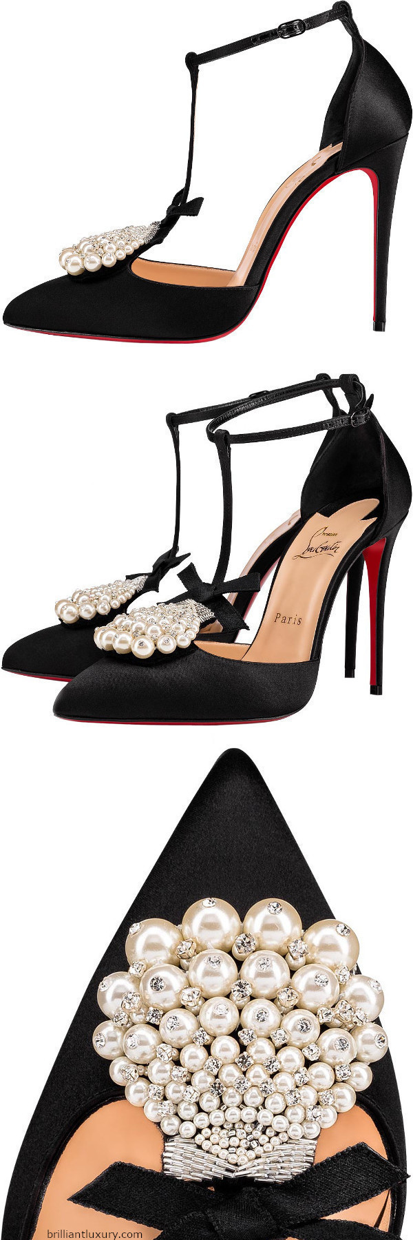 Brilliant Luxury│Christian Louboutin Goyetta black bejeweled pumps