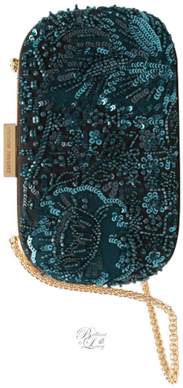 Zuhair Murad embroidered clutch in celadon blue