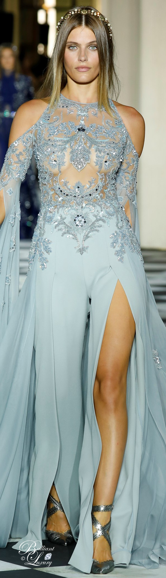 Zuhair Murad beaded chiffon jumpsuit in celadon blue
