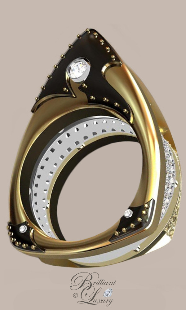 Greg Neeley Floating Marquis Black Knight Ladies Ring