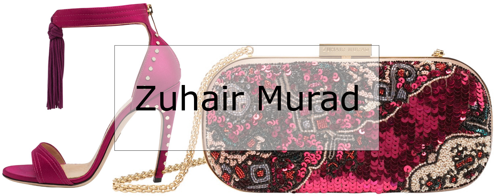 Zuhair Murad studded tassel sandals and embroidered clutch in  in pink
