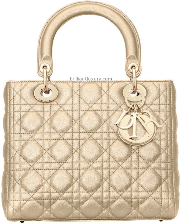 Light Gold Metallic Lady Dior Bag