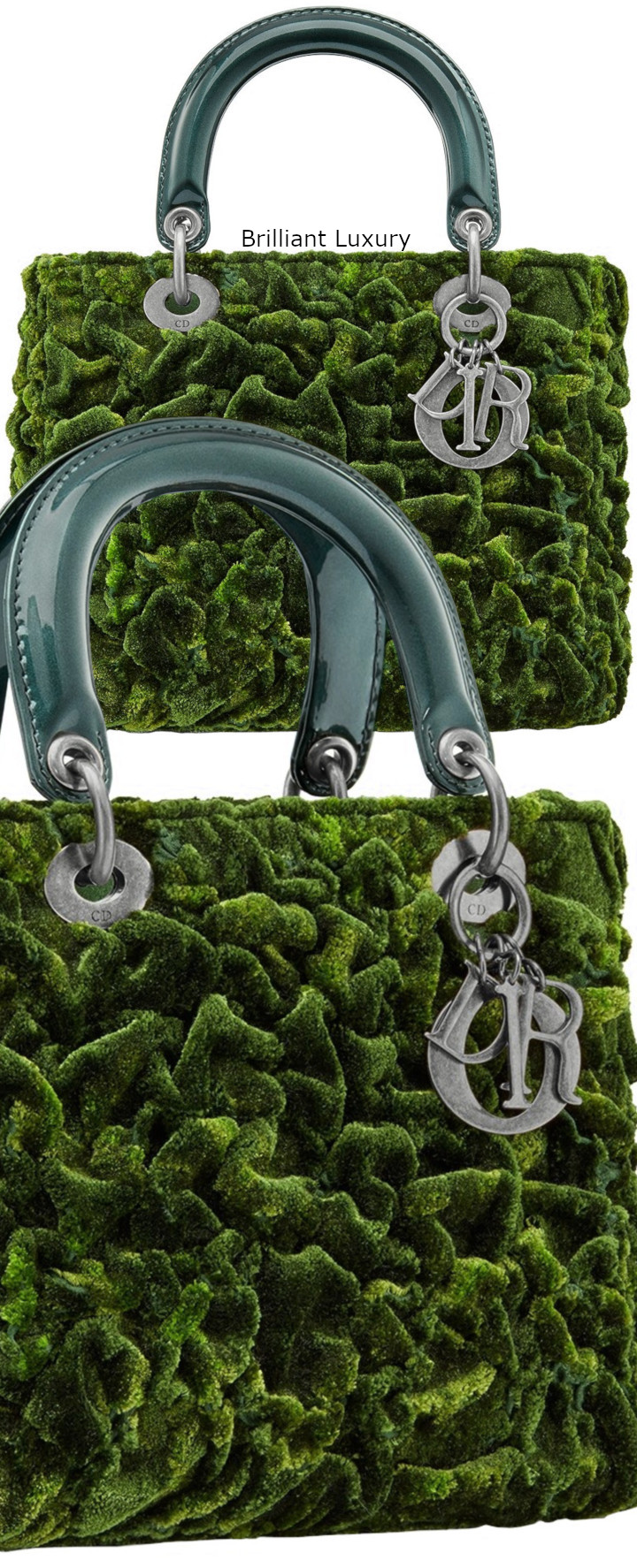 Brilliant Luxury│Lady DIOR Mini Art Bag in cotton silk, embroidered with texture, create a vegetal moss effect, Tie and dye effect green color, Designer Lee Bul