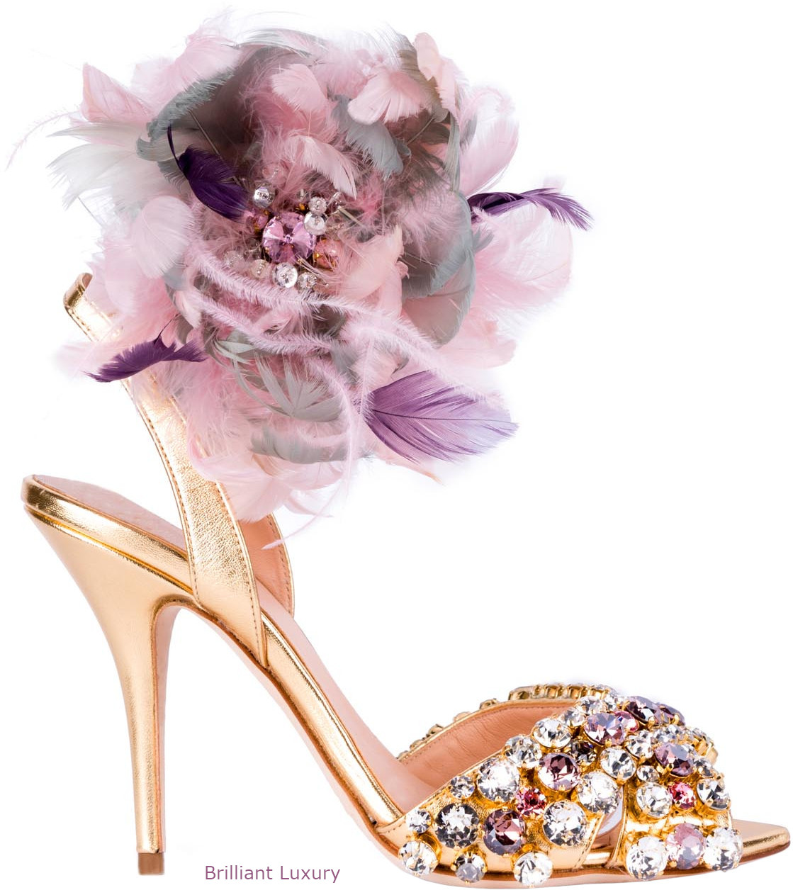 Gedebe bejeweled and feathered sandals in gold and pink