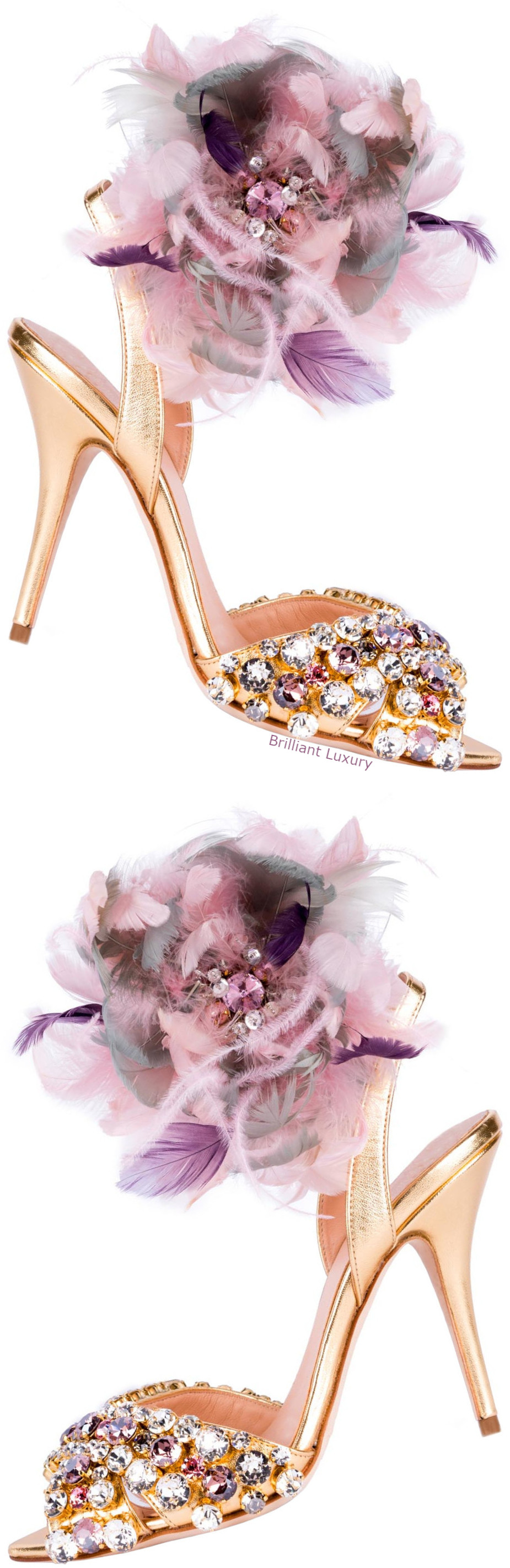 Gedebe feathered sandals in gold and pink