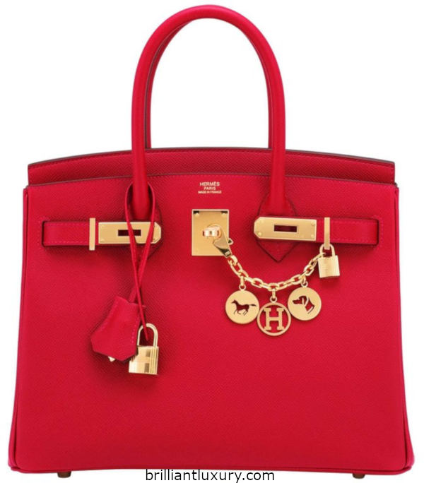 Classic Hermès Birkin Bag in red 2018