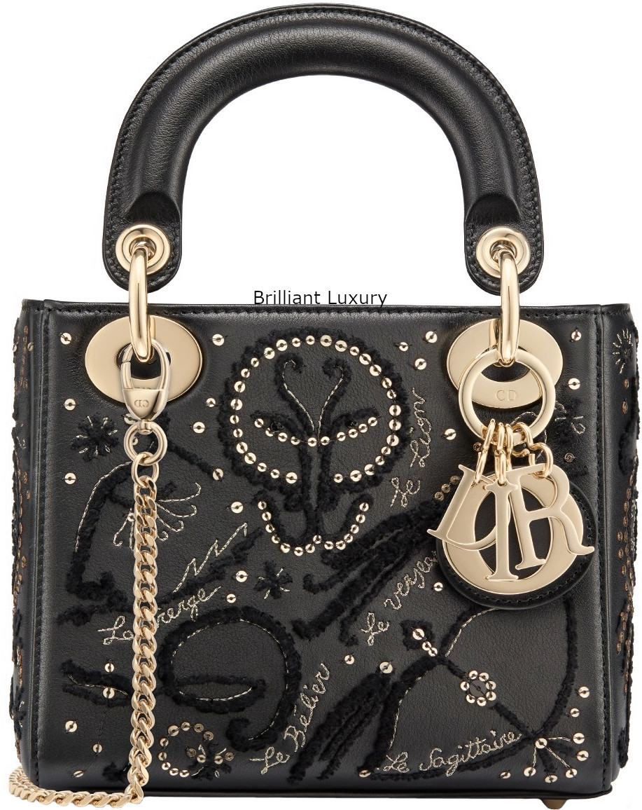 Brilliant Luxury│Lady Dior Art Bag in black smooth calfskin, embroidered with threads and sequins depicting the signs of the zodiac