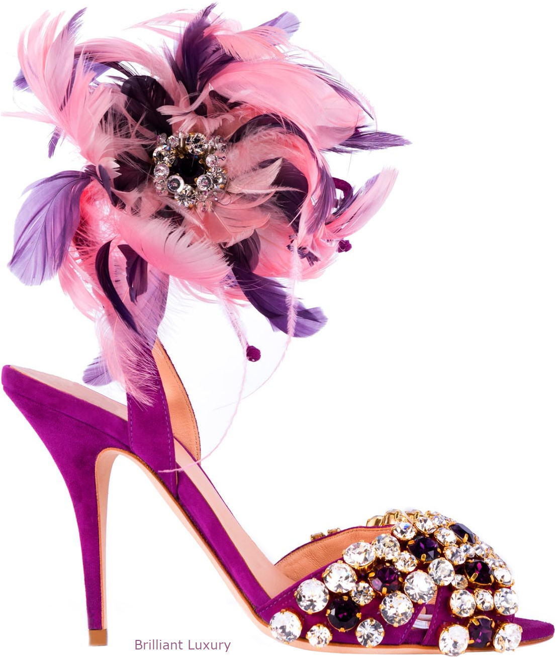 Gedebe bejeweled and feathered sandals in pink