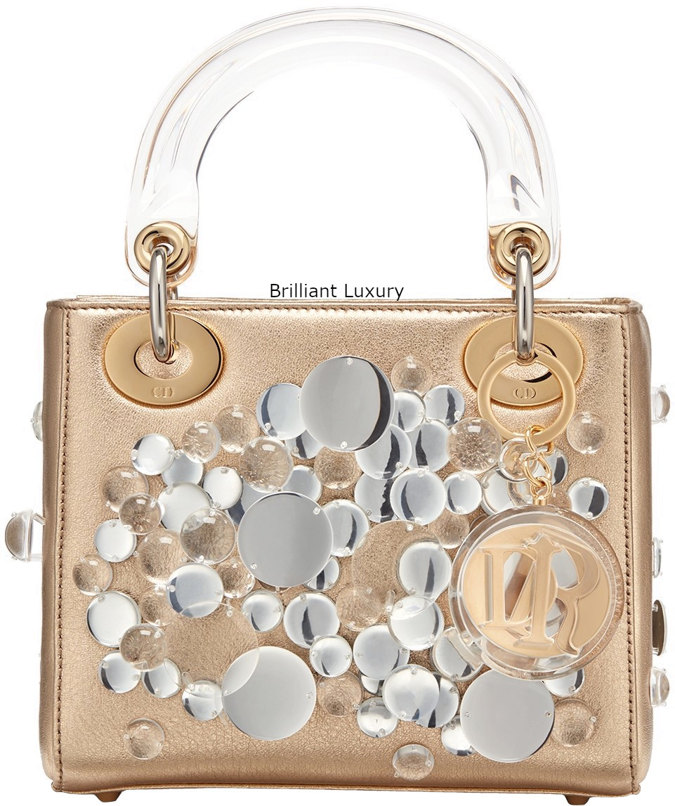 Brilliant Luxury│Lady Dior Art Bag in gold color metallized lambskin, embroidered with transparent lenses, Designer Haruka Kojin