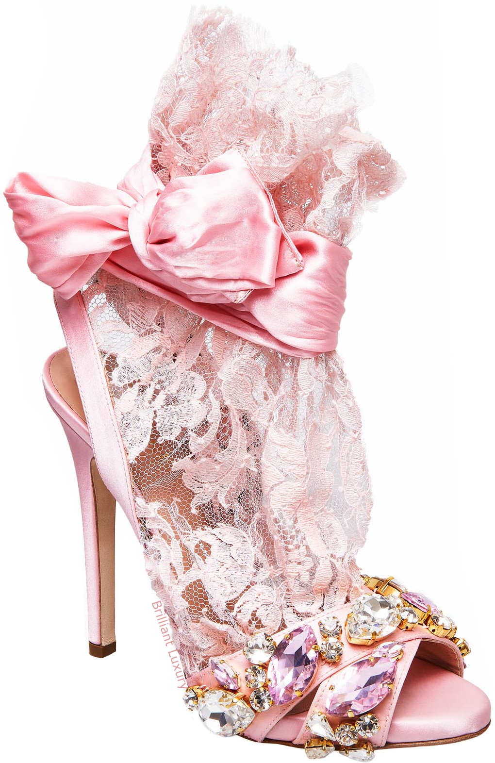 Gedebe bejeweled satin lace sandals in pink