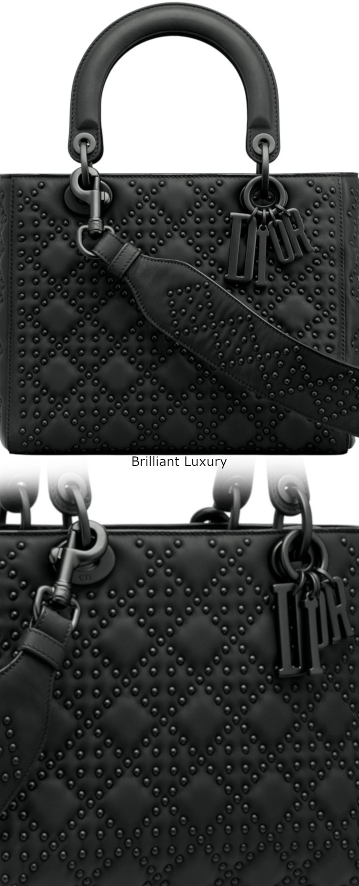 Brilliant Luxury│Lady DIOR Art Bag in black studded matt Cannage calfskin and ultra-black finish metal jewellery