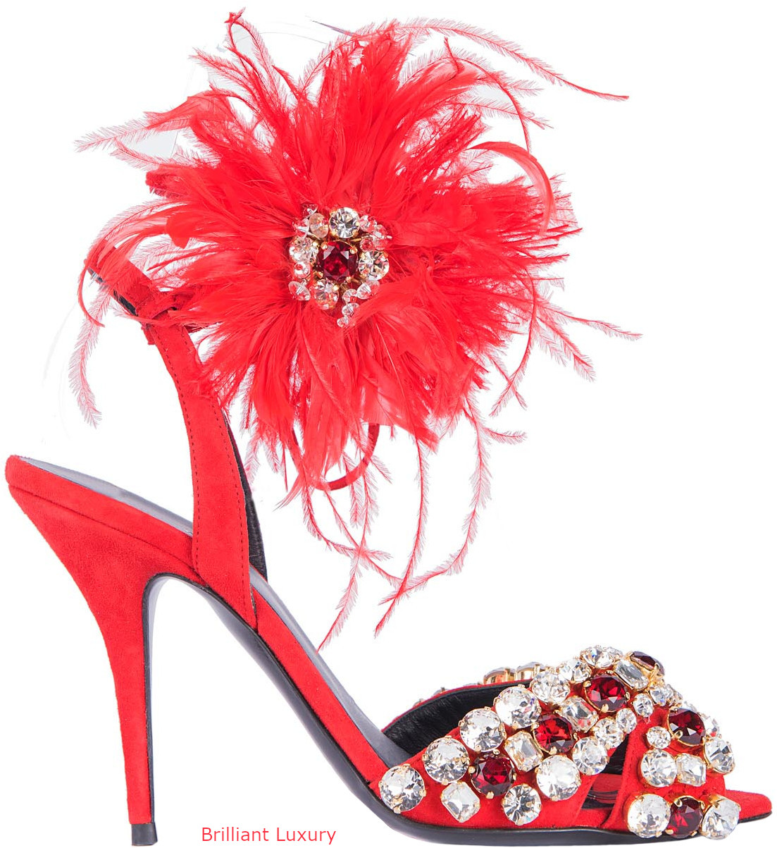 Gedebe bejeweled and feathered sandals in red