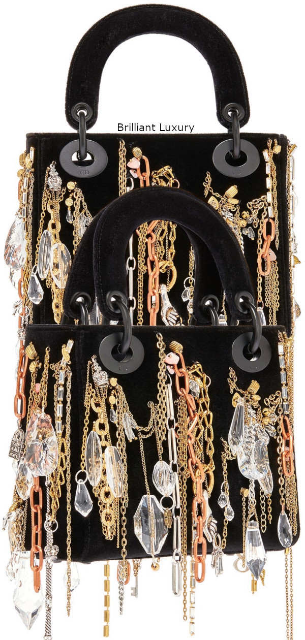 Brilliant Luxury│Lady Dior Art Bag in black velvet, embroidered with chains-jewellery in ultra black finish metal, Designer Isabelle Cornaro