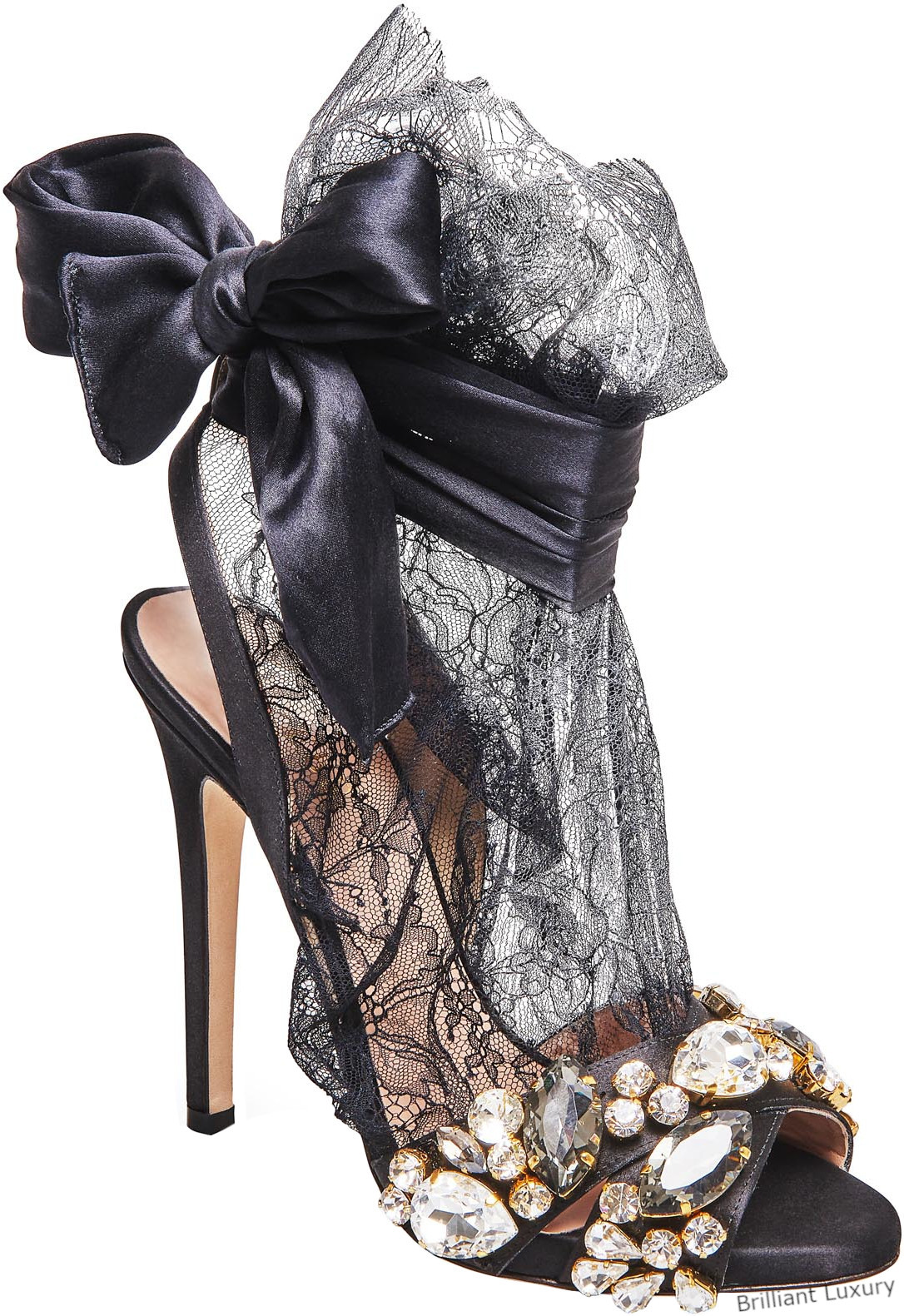 Gedebe bejeweled satin lace sandals in black