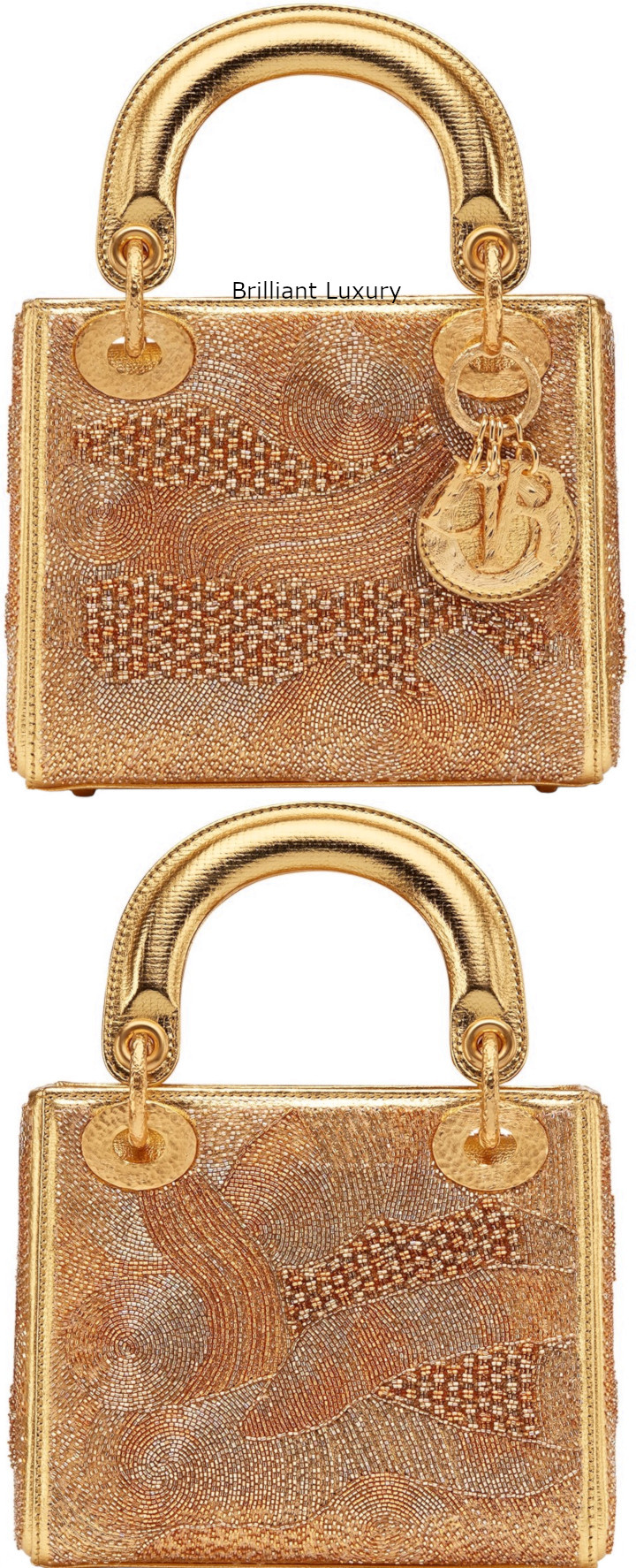 Brilliant Luxury│Lady DIOR Art Bag in gold color textured goatskin, Designer Olga de Amaral