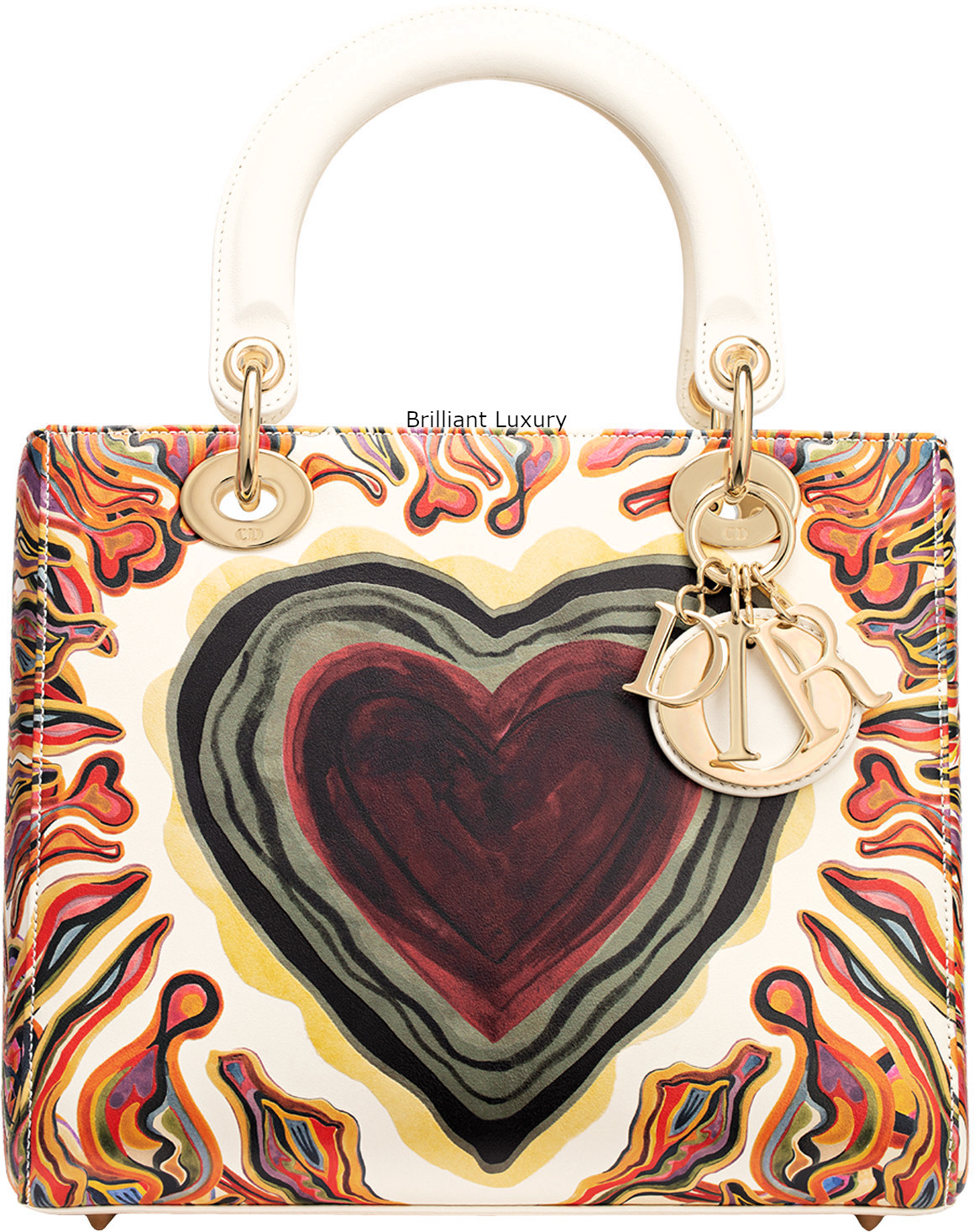 Brilliant Luxury│Lady Dior Art Bag in off-white calfskin, printed with a textured Dioramour heart and light gold-tone metal jewellery