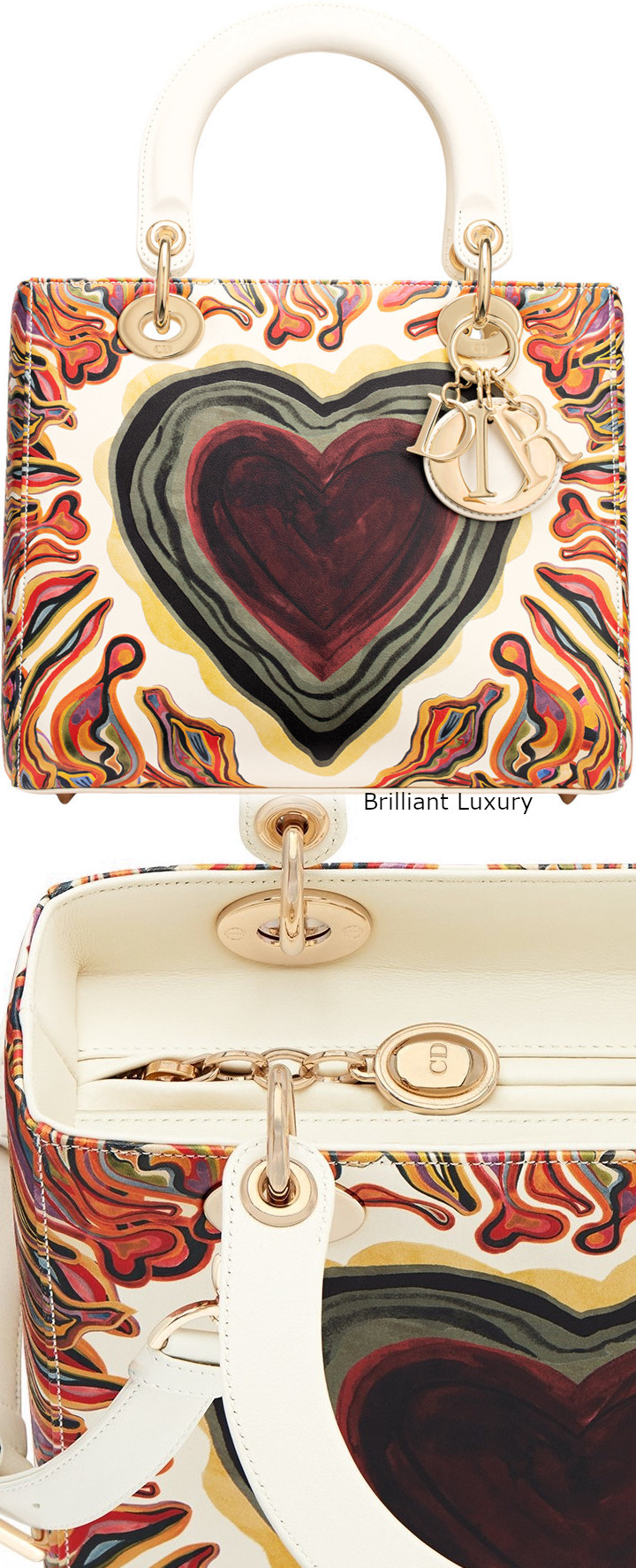 Brilliant Luxury│Lady DIOR Art Bag in off-white calfskin printed with a textured Dioramour heart and light gold-tone metal jewellery