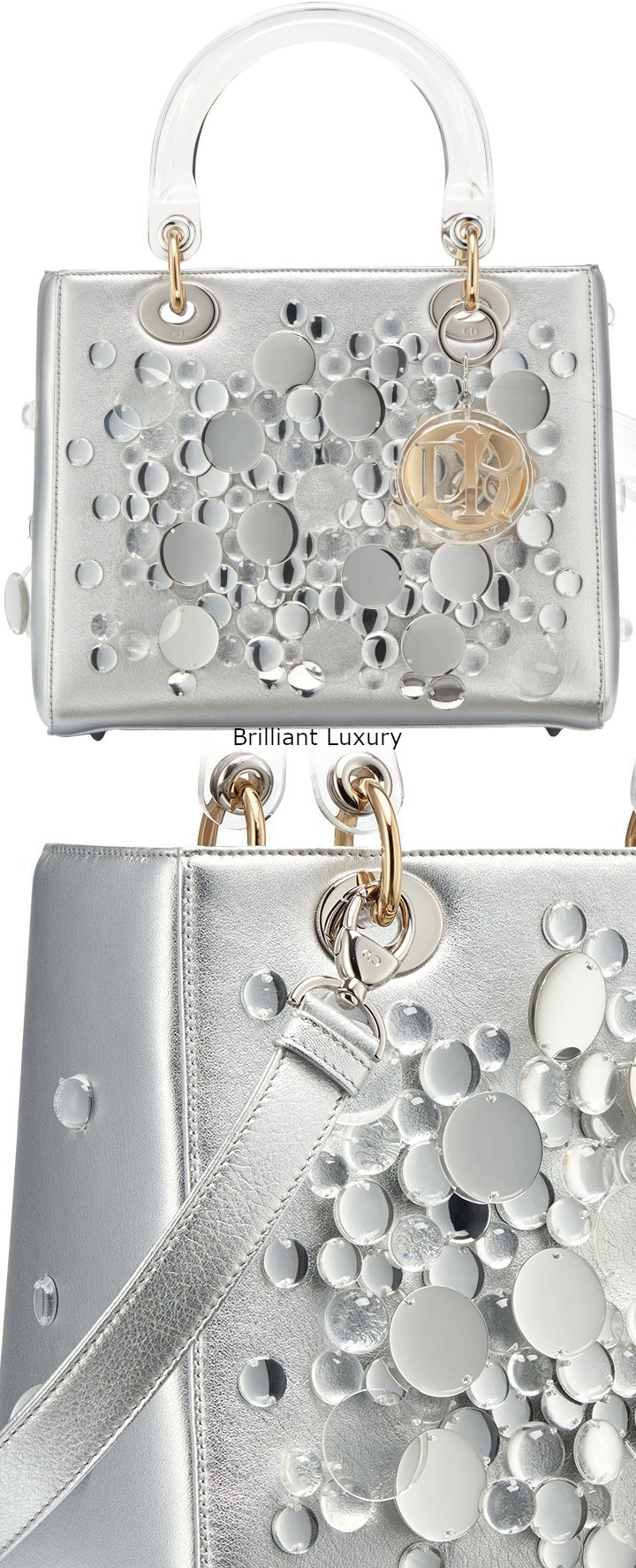 Brilliant Luxury│Lady DIOR Art Bag in silver color metallized lambskin, embroidered with transparent lenses, Designer Haruka Kojin