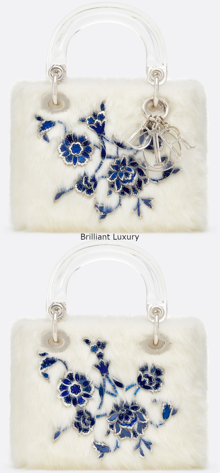 Brilliant Luxury│Lady DIOR Art Bag in optic white color faux fur, embroidered with metallic and blue flowers, Designer Burçak Bingöl