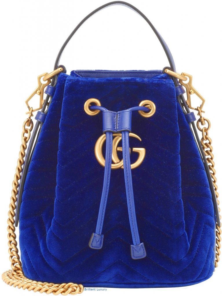 Gucci GG Marmont velvet bucket bag in Pantone Princess Blue
