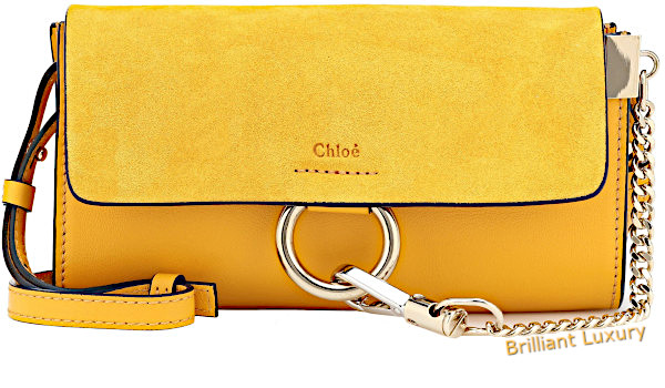 Chloé Faye mini leather wallet bag in Pantone color aspen gold