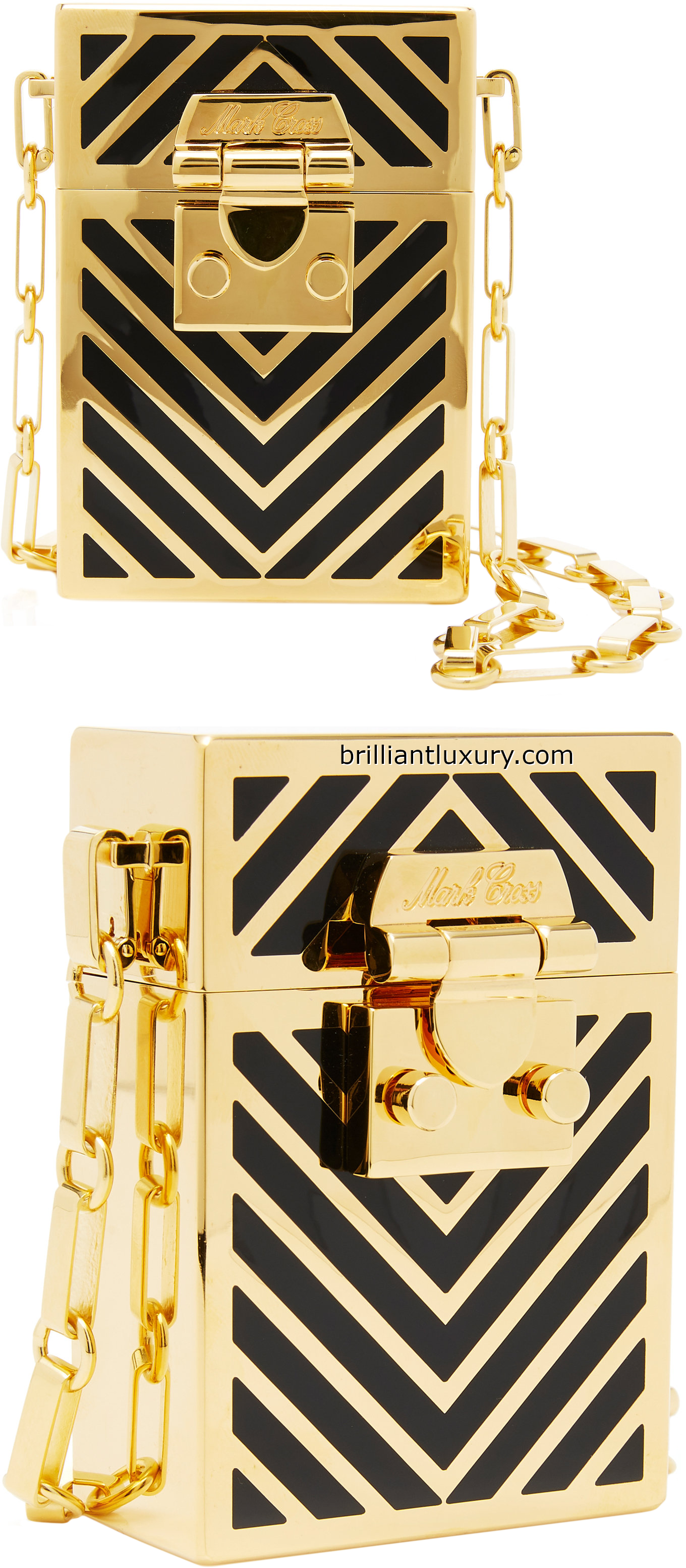 Marc Cross Nicole chevron enamel evening bag