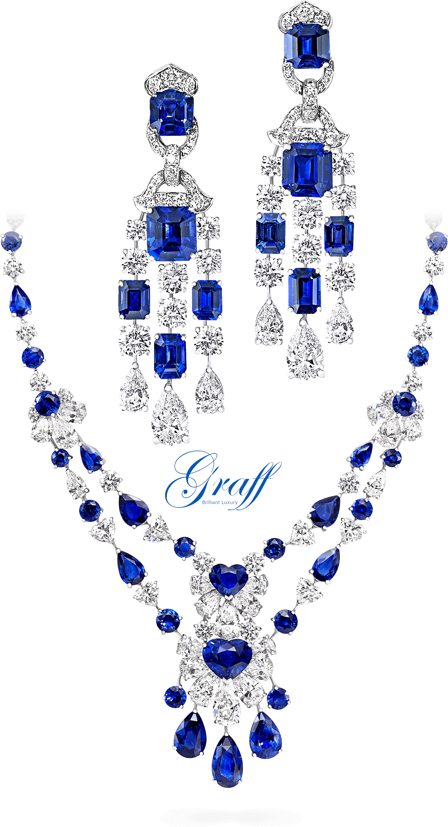 Graff sapphires and diamond necklace and earrings