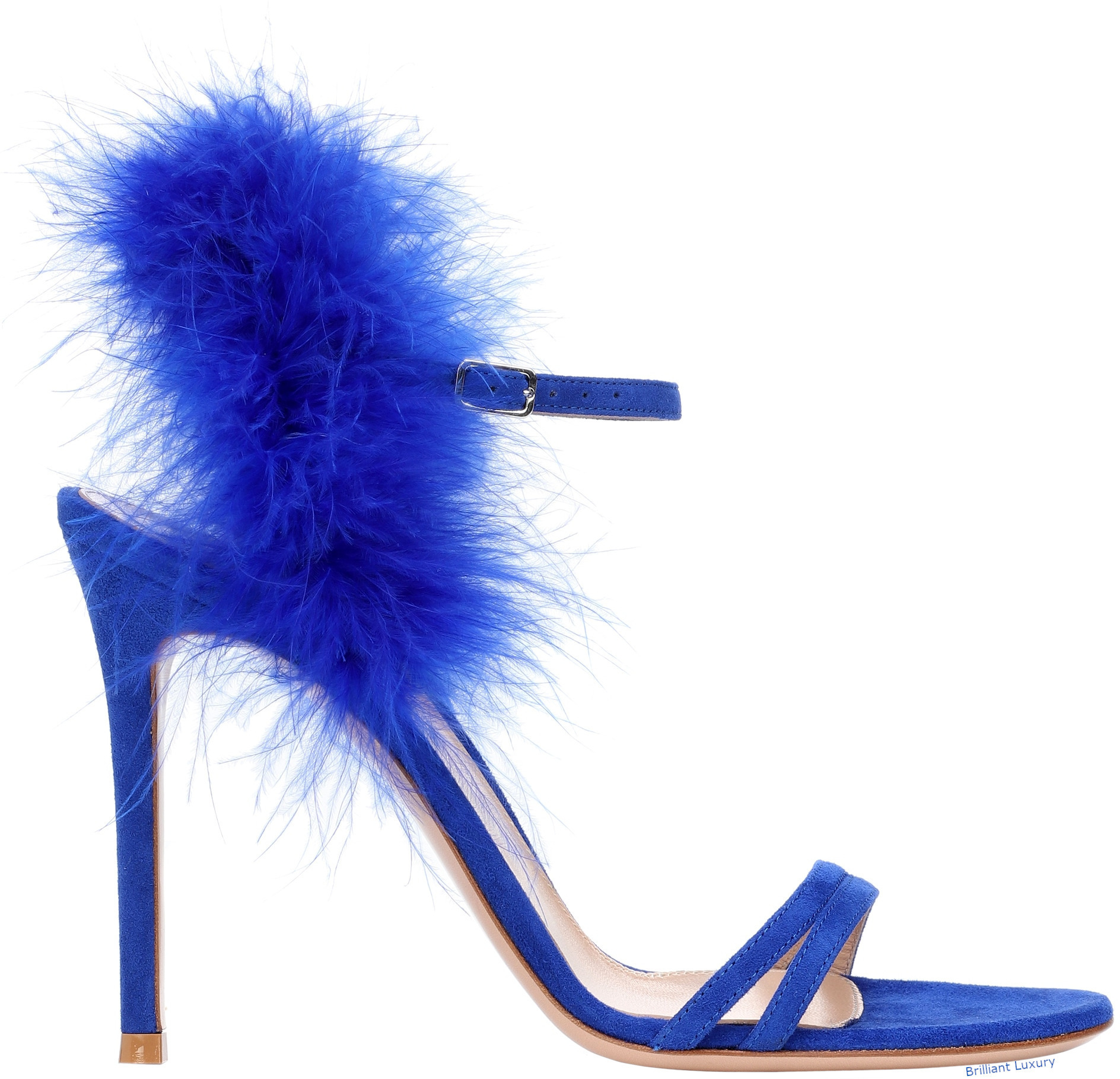 Gianvito Rossi Thais feather-trimmed suede sandals in Pantone Color Princess Blue
